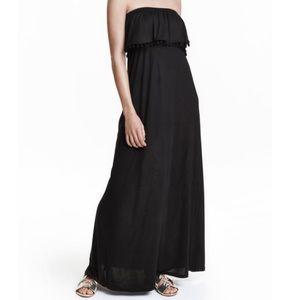 H&M Black Strapless Pom Pom Bandeau Maxi Dress
